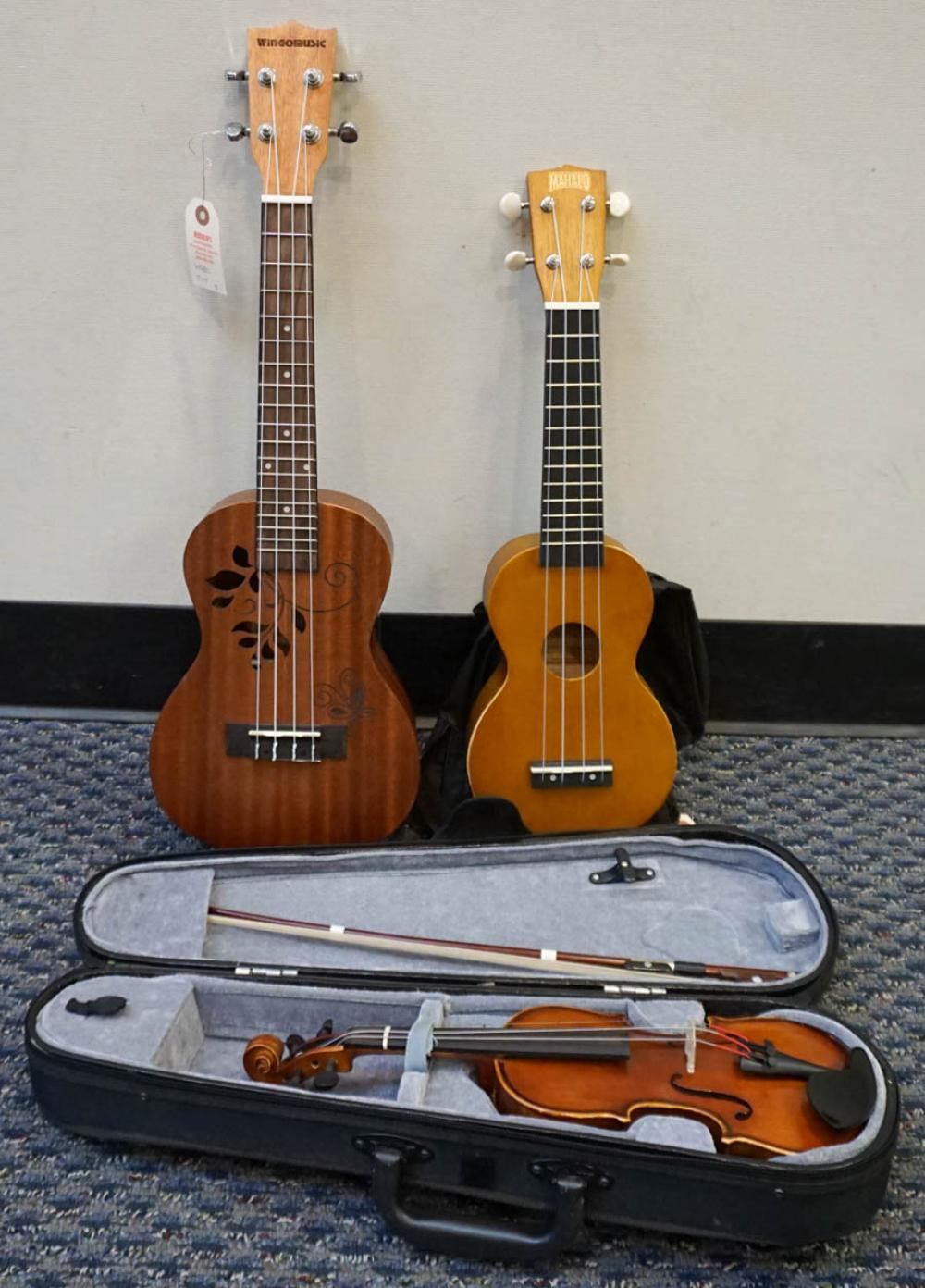 Wingomusic Youth Classical Acoustic Guitar, Mahalo Ukulele, and Carina Youth Violin and Bow in Travel Case, L: 20-7/8 in