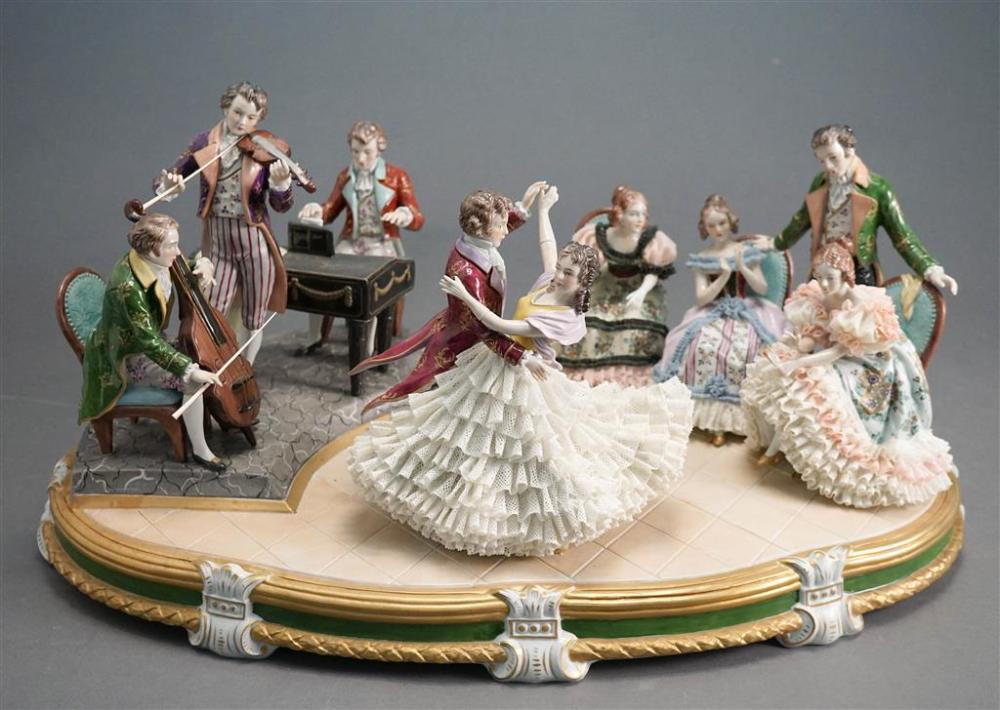 Dresden Porcelain Lace Figural Group, 'Kaiserwulzer', L: 21-1/2 in