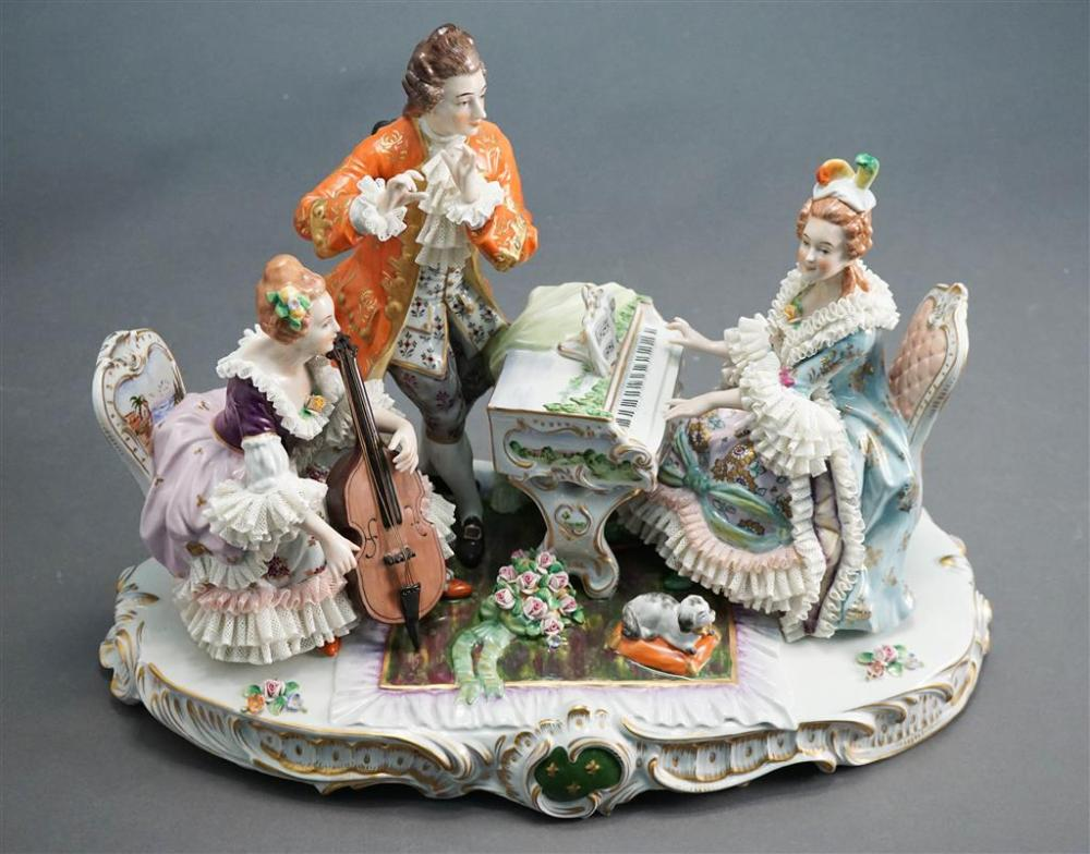 Dresden Porcelain Partial Lace Figural Group of Musical Recital, H: 13, L: 20 in