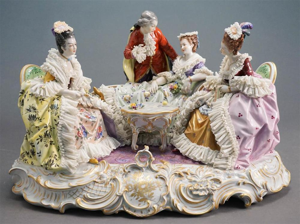 Dresden Porcelain Lace Figural Group of Parlor Interior, H: 13, L: 21 in