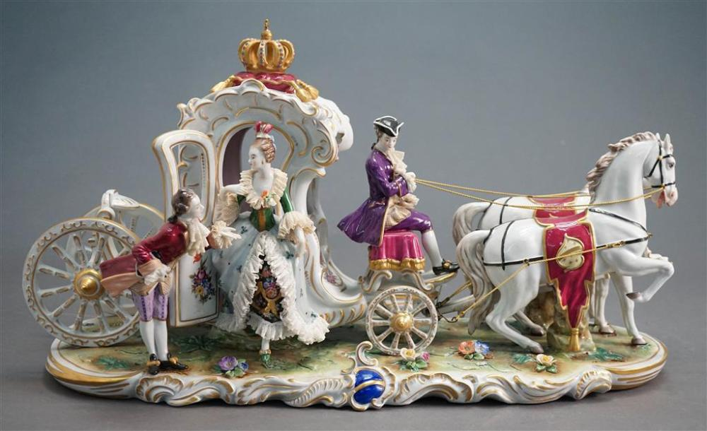 Dresden Porcelain Figural Group of Carriage and Attendants, H: 12; L: 24 in