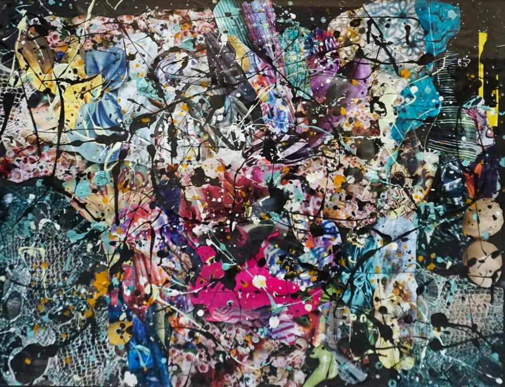 Roohelle, American 20th/21st Century, Abstract, Mixed Media Collage, Frame: 26-1/2 x 32-1/2 in