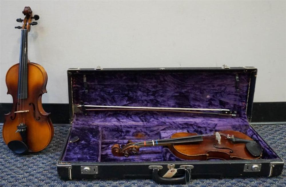 Anton-Breton AB-10 1994 with Aubert Trainer with Bow and Hardshell Travel Case, Two Varnished Maple Violins (both missing one string)