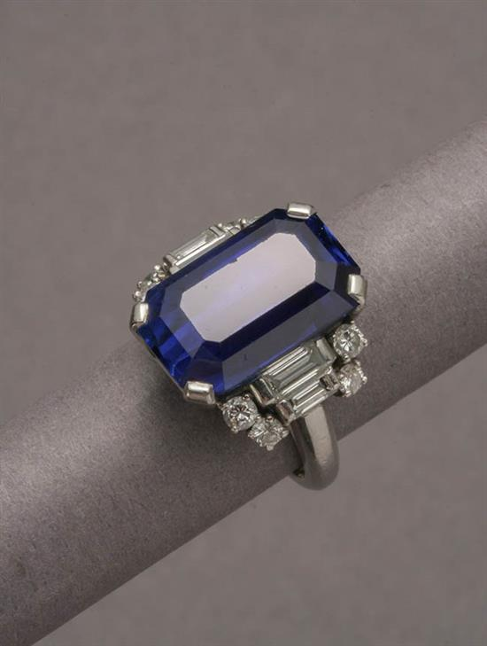Platinum, Blue Sapphire and Diamond Ring