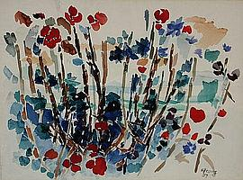 Gustav Hessing (Austrian 1909-1981), Landscape with Flowers and Foliage, watercolor on paper, 20 x 27 in