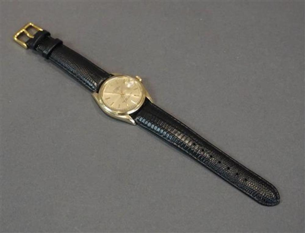 Gentleman's Rolex Oyster Perpetual Date 14-Karat Yellow-Gold Automatic Wristwatch, Serial number: 2917673, Small Chip to Crystal
