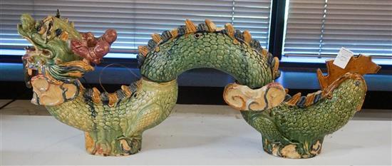 Chinese Sancai Glazed Stoneware Four-Segment Dragon (damaged)