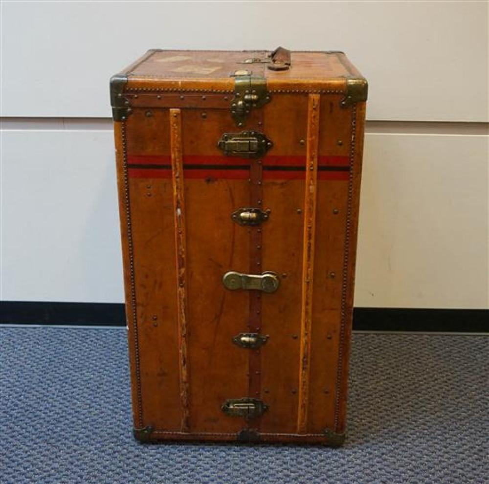 Arthur Gilmore, Inc. Metal and Leather Bound Wardrobe Trunk