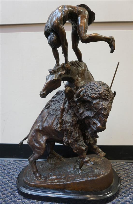 After Frederic Remington, The Buffalo Horse, Bronze Sculpture, Height: 33 in
