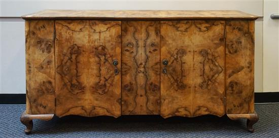 Queen Anne Style Burl Walnut Sideboard