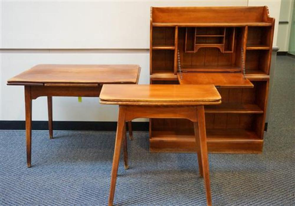 Lot Maple Refectory Dining Table A Fold Top Console Table A Cushman Maple Bookcase Desk A Side Table And A Side Rocker