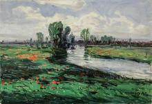 Alois Kalvoda (Czech 1875-1934), Landscape with Stream, Signed Oil on Canvas