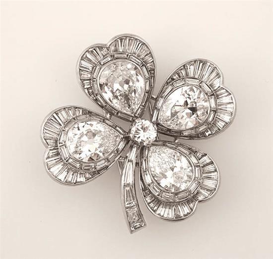 Platinum and Diamond 'Clover' Brooch
