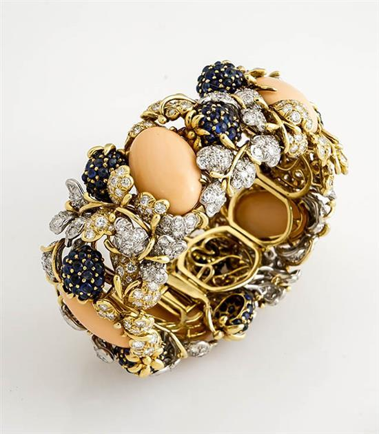 18-Karat Yellow-Gold, Coral, Blue Sapphire and Diamond 'Berry' Bracelet, Tiffany & Co.