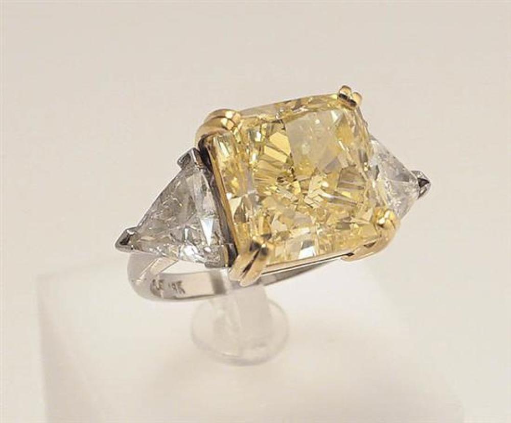 Platinum, 18-Karat Yellow-Gold and Fancy Yellow Diamond Ring