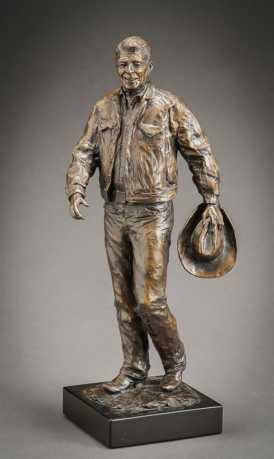 Glenna Maxey Goodacre (American 1939-2020), After the Ride (Ronald Reagan), Bronze Sculpture with Brown Patina, H: 20 inches