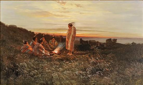 Charles Craig (American 1846-1931), Native American Encampment at Sunset, Signed Oil on Canvas, 22-1/4 x 36 inches