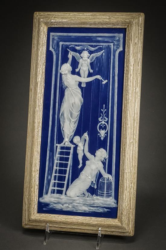 Mintons Pâte-sur-Pâte Peacock-Blue Plaque Decorated by Marc-Louis Solon, Circa 1900