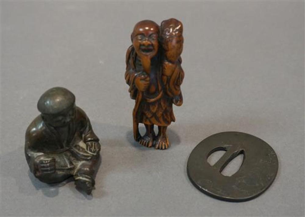 Japanese Shibuichi Tsuba (signed), a Bronze Seated Boy and a Boxwood Netsuke of Gama-Sennin