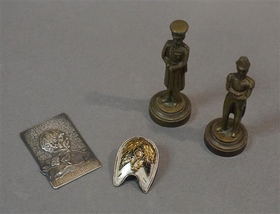 German 990-Silver Bismarck Plaque, Two Brass Military Figures and an Imperial 'Double Headed Eagle' Pin