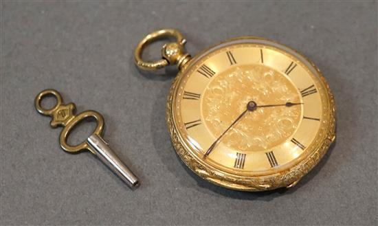 18-Karat Yellow-Gold Key-Wind Openface Pocket Watch, 26.4 gross dwt