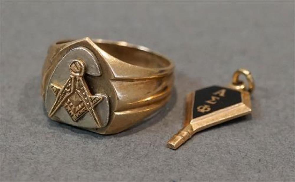 10-Karat Yellow-Gold Masonic Ring and a Fraternity Key, 7.3 total gross dwt