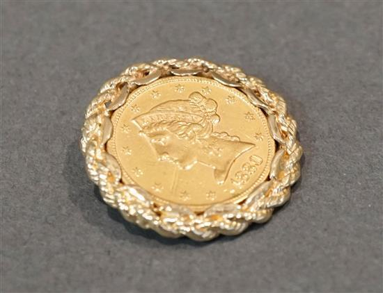 Liberty Head 1880 Five-Dollar Gold Coin Converted to a Pendant, 10.5 gross dwt
