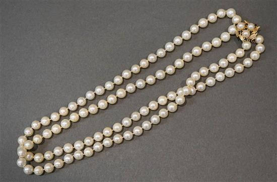 Cultured Pearl Necklace with 14-Karat Yellow-Gold, Cultured Pearl and Blue Sapphire Enhancer, Length: 33-1/2 in