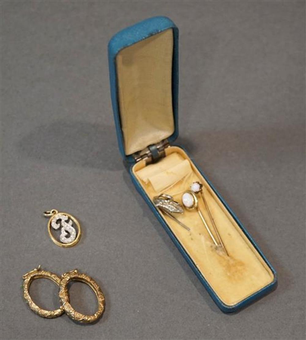 14-Karat Yellow-Gold Diamond Pendant, Two Gold Stickpins, a Gold Filled Stickpin and Two Slides, 3.7 total gross dwt