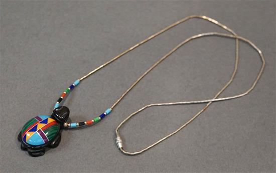 Mixed Stone Turquoise Pendant with Liquid Silver Chain