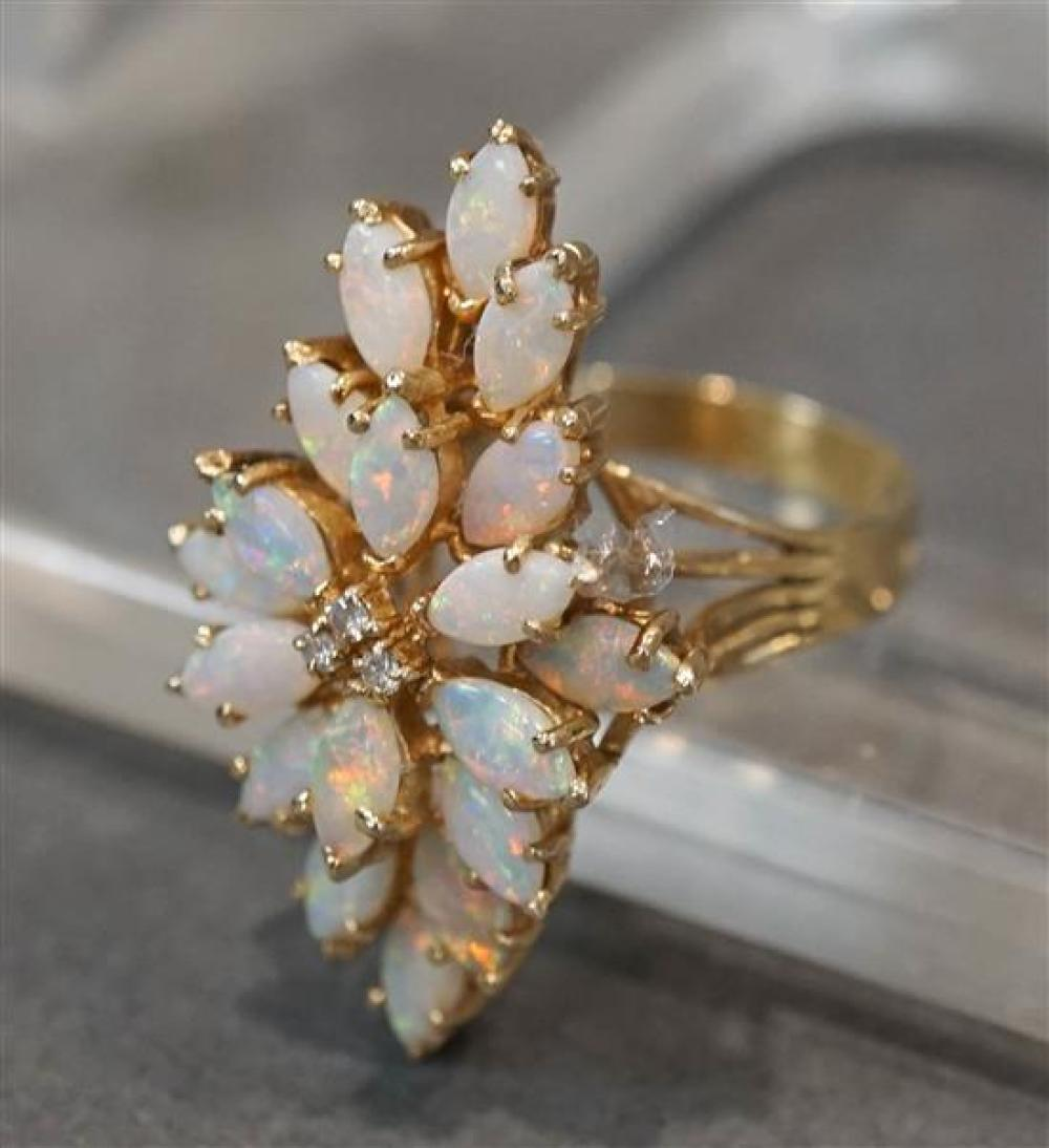 14-Karat Yellow-Gold, Opal and Diamond Ring, 4.6 dwt, Shank Size: 7-1/4