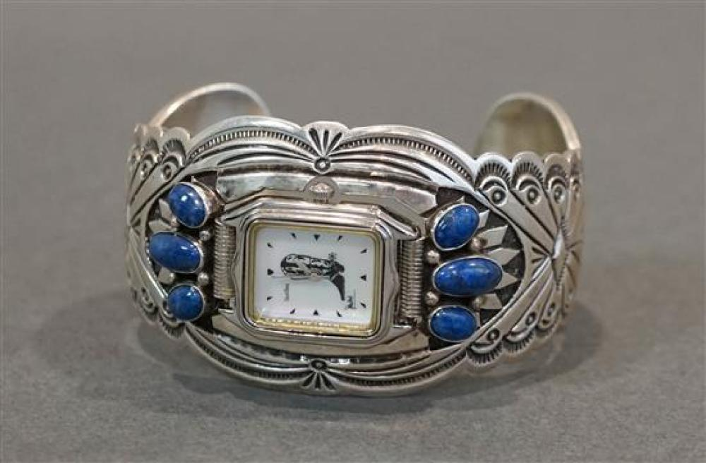 R. Wylie Sterling and Lapis Watch Cuff Bracelet