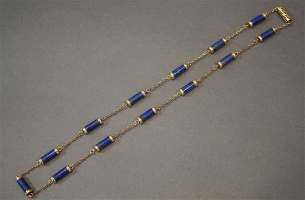 14-Karat Yellow-Gold Lapis Necklace, Length: 27 in, 29.2 gross dwt