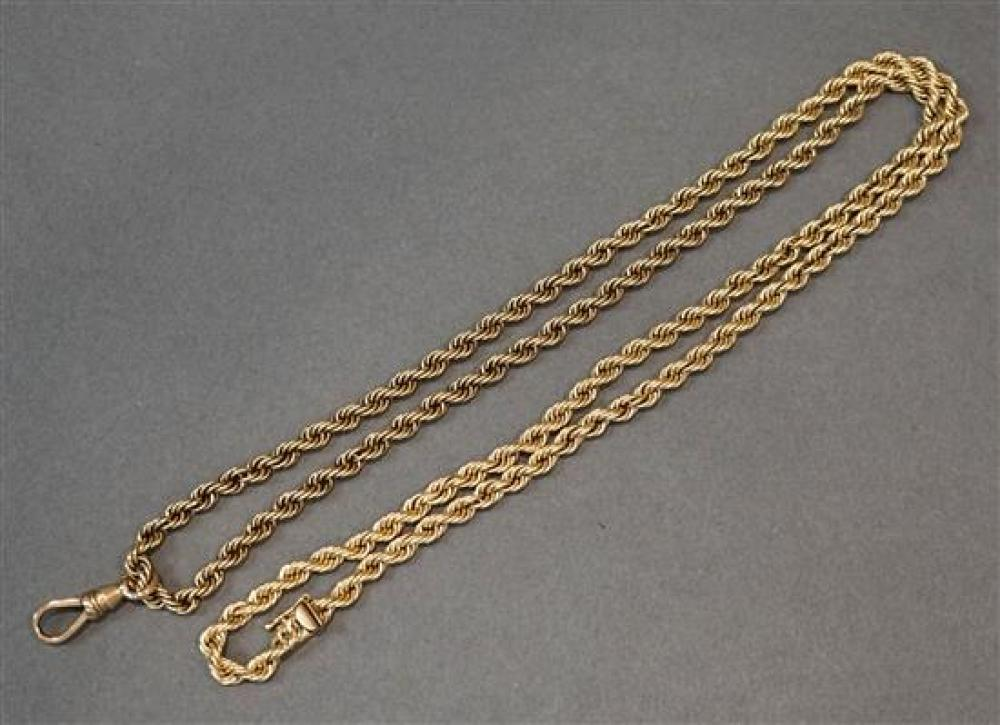14-Karat Yellow-Gold 'Rope' Watch Chain, 17.1 dwt, Length: 31-3/4 in