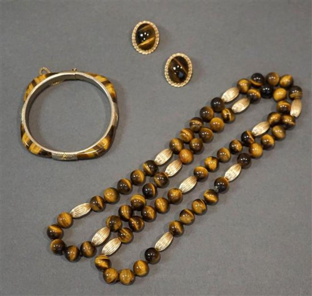 Tiger's Eye Bead Necklace, a Bangle Bracelet and a Pair of 14-Karat Yellow-Gold Tiger's Eye Ear Clips