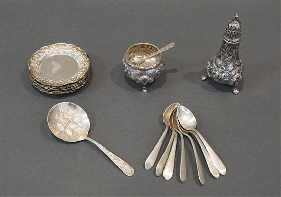 Eight S. Kirk & Son Repoussé Sterling Border Nut Dishes, a Pepper Caster, Seven Demitasse Spoons and other Table Articles