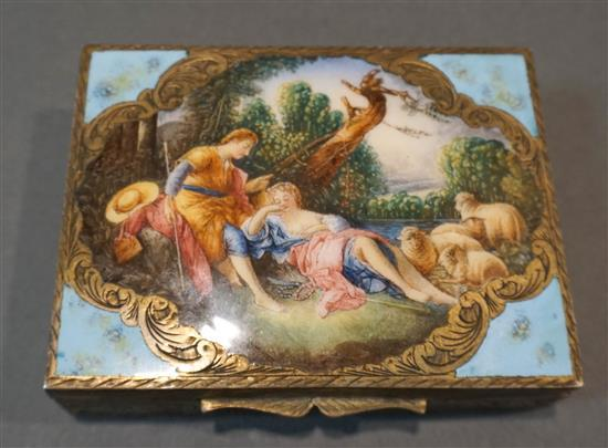 Continental Enameled Silver and Gilt Interior Box of Shepherdess with Flock in Landscape, 1-1/4 x 4-1/2 x 3-3/8 in, 8.2 gross oz