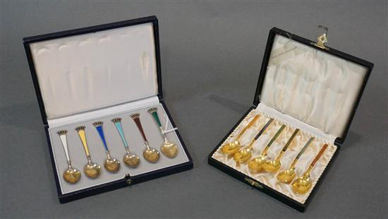 Set of Six Danish Gilt Sterling Silver Demitasse Spoons and a Set of Six Silver Plate Demitasse Spoons