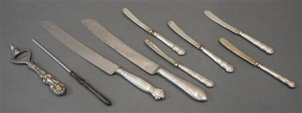 Two Webb Sterling Handle Sponge Cake Knives, a Sterling Handle Bottle Opener and a Set of Five English Silver Handle Fruit Knives
