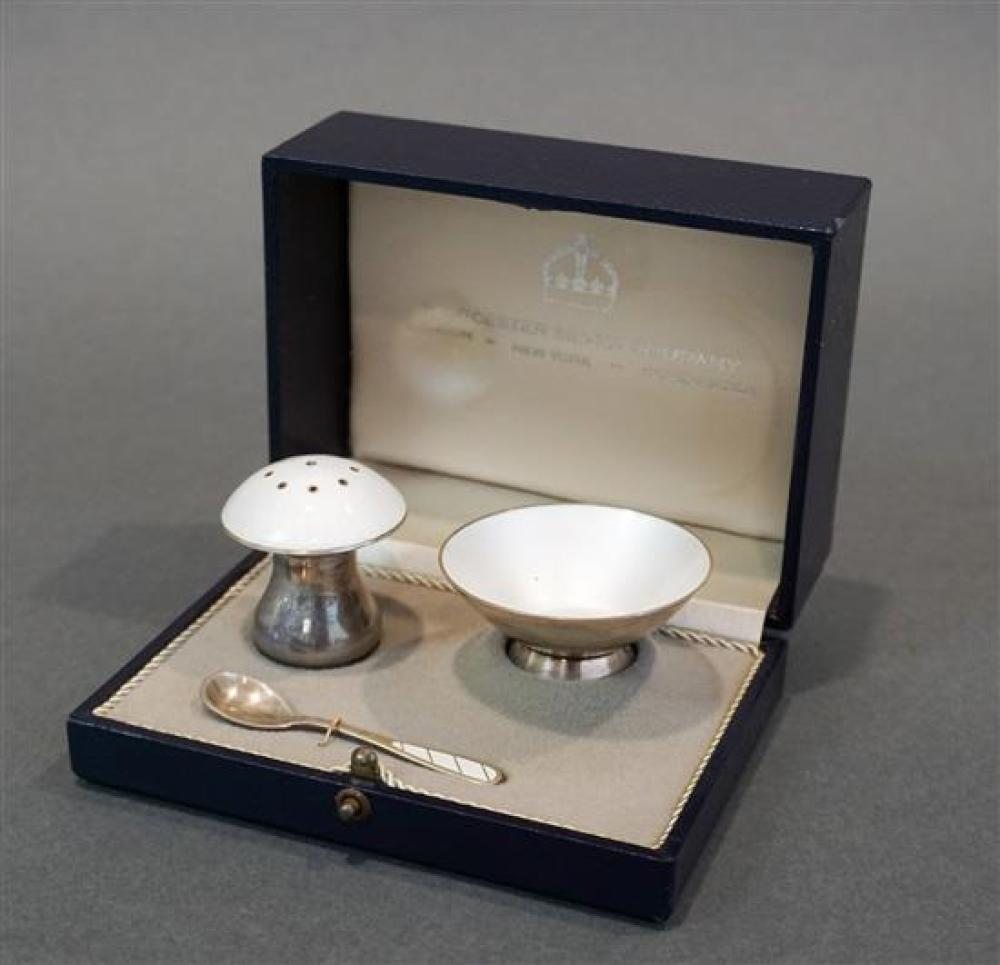Worcester Silver Co. Pepper Shaker and Open Salt and a Spoon