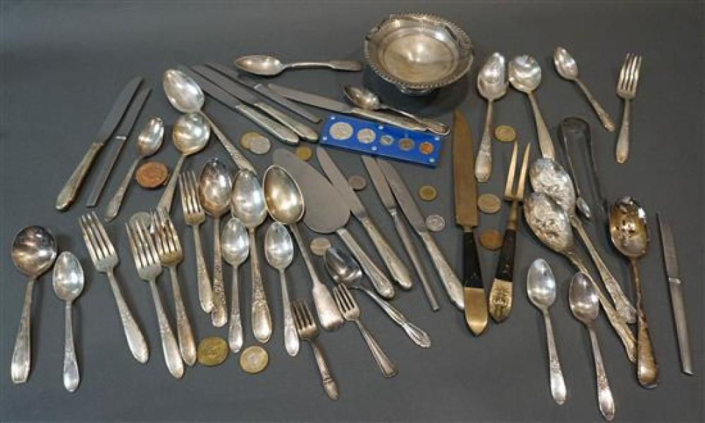 Collection with a Weighted Sterling Compote, a Coin Silver Spoon and Sugar Tongs, and a Group of Mostly Silverplate Table Articles