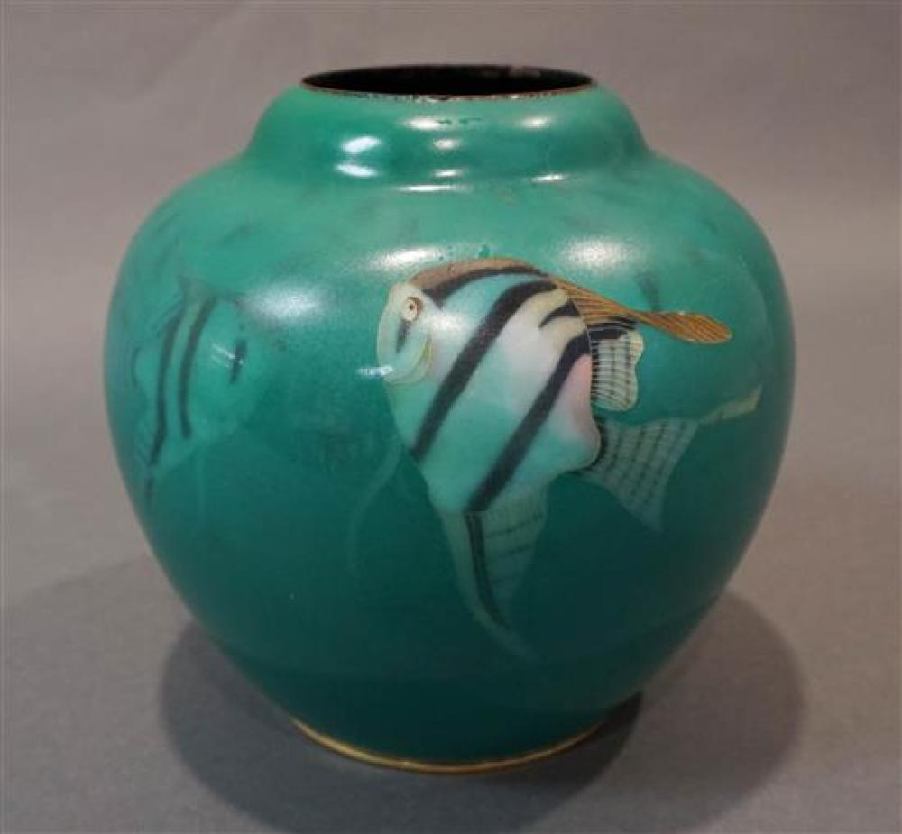 Ando Juebi Baseless Cloisonne Sea Green Ground Vase with Inlaid Seal Mark for Tropical Fish, Taisho Period (1912-1926), H: 7-1/4 inches