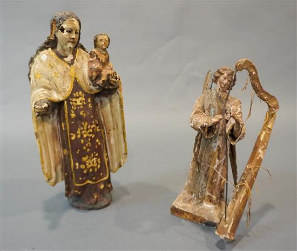 Two Spanish Colonial Painted Giltwood Figures of Madonna with Child and a Papier Mâché Angel with Harp, Height of taller: 11 in