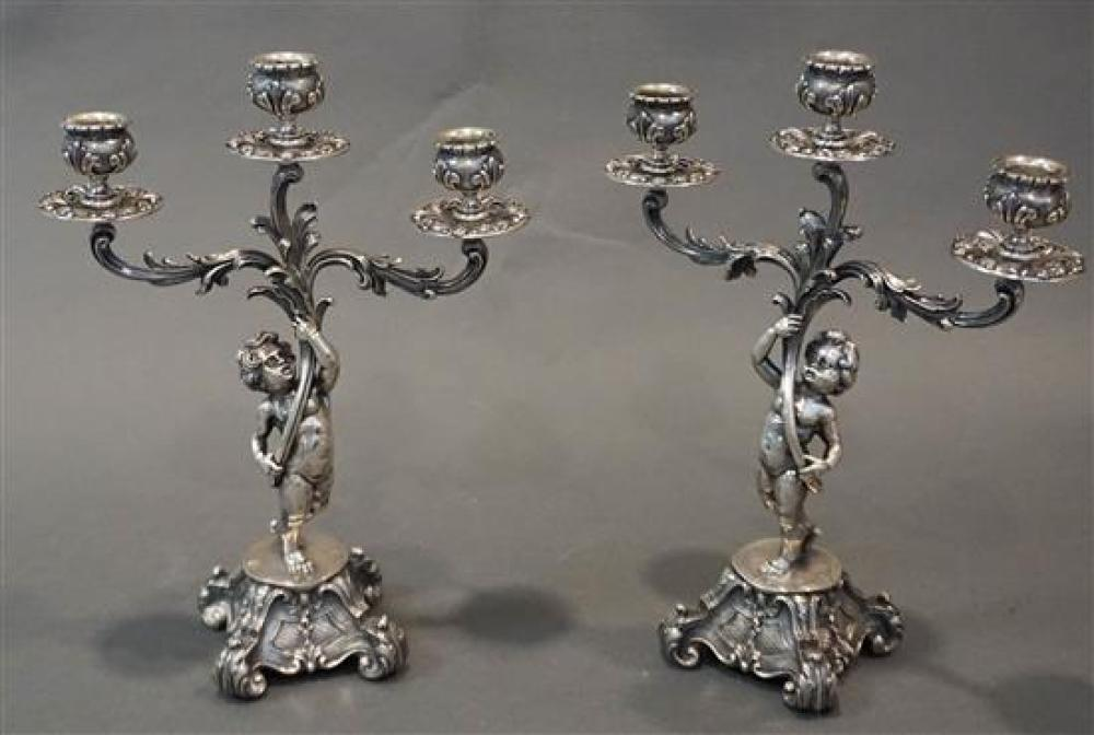 Pair Continental 800-Silver Rococo Style Figural Three-Light Candelabra, 75