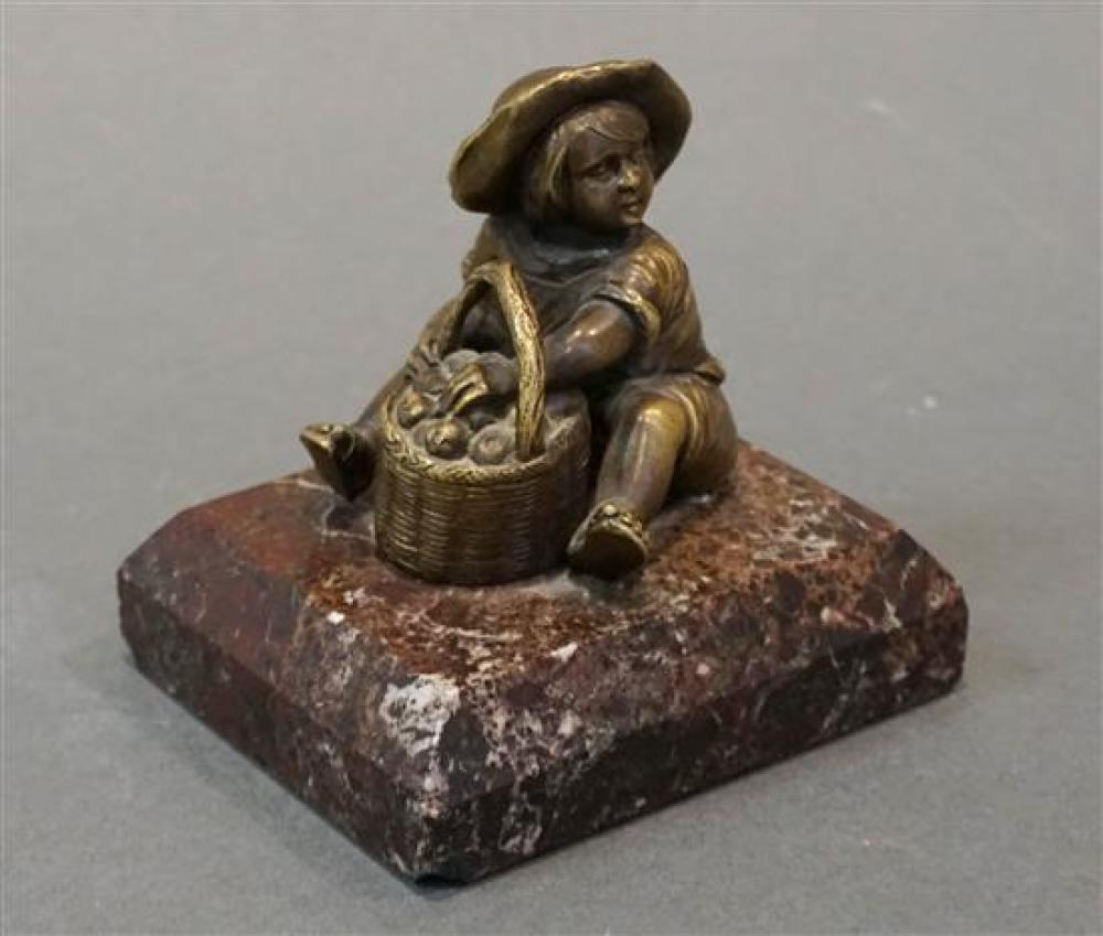 Bronze Figure of Child Seated with Basket of Fruit on Marble Plinth, Height: 4 in