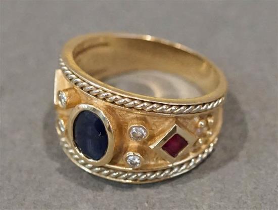 14 Karat Yellow Gold, Blue Sapphire, Diamond and Ruby Ring, Size: 6-3/4, 4 gross dwt.