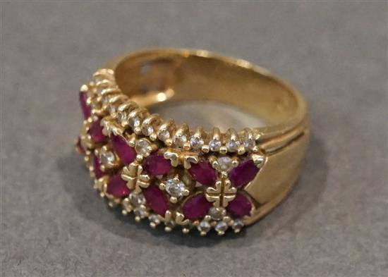 14 Karat Yellow Gold, Ruby and Diamond Ring, 4.6 gross dwt., Size: 8