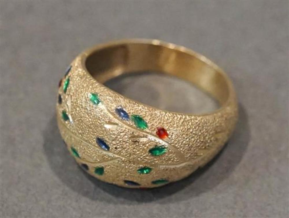 10 Karat Yellow Gold and Enamel Ring, 2.8 gross dwt., Size: 9-1/2