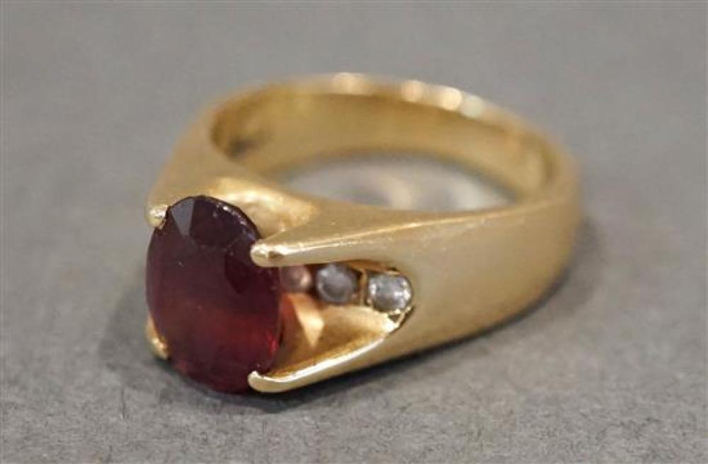 18 Karat Yellow Gold Rubelite, Tourmaline and Diamond Ring, Size: 5, 4.7 gross dwt.