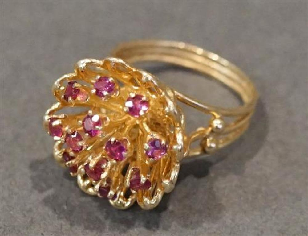 14 Karat Yellow Gold Ruby Ring, Size: 4-3/4, 3.5 gross dwt.
